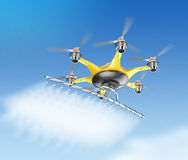 Hexacopter with crop sprayer flying in the sky Stock Image