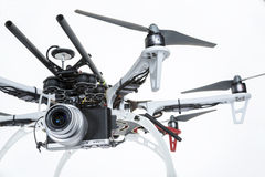 Hexacopter drone with camera. FORT COLLINS, CO, USA, November 21, 2014: A prosumer camera (Panasonic Lumix GM1) mounted on DJI F550 Flame Wheel hexacopter drone stock photo