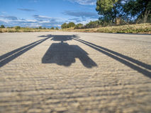 Hexacopter drone shadow Stock Photo