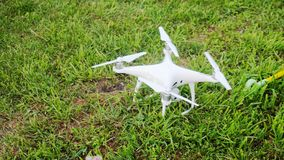 Hexacopter drone stands on the grass in summer. Hexacopter drone on the grass in summer royalty free stock image