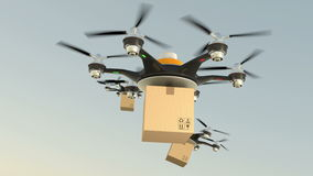 Hexacopter drones delivery cardboard packages in formation stock video