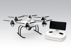 Hexacopter and remote controller  on gray background Stock Image