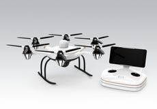 Hexacopter und Fernprüfer auf grauem Hintergrund stock abbildung