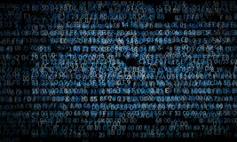 Hexadecimal Code Running Up A Computer Screen On Black Background. Blue Digits. Royalty Free Stock Image