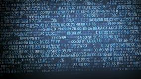 Hexadecimal code running up a computer screen. Blue digits. stock video