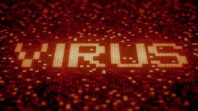 Flashing hexadecimal symbols on a red computer screen compose Virus word. Loopable 3D animation. Hexadecimal symbols flashing on a red computer screen stock illustration