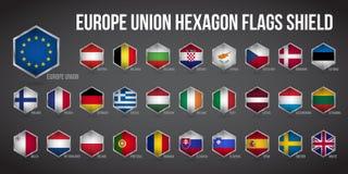 Hexagon ένωση της Ευρώπης ασπίδων σημαιών απεικόνιση αποθεμάτων