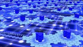 Hexagon δίκτυο υπερυπολογιστών στο μπλε Στοκ Φωτογραφίες