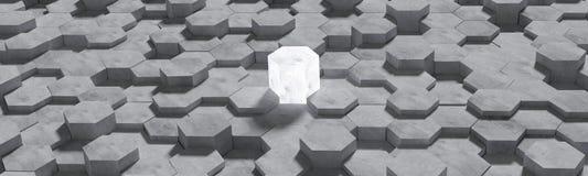 Hexagon διαμορφωμένο υπόβαθρο τοίχων τσιμεντένιων ογκόλιθων Έργο τέχνης για τη σύγκριση της νίκης ή τη σύγκριση του ανταγωνισμού  διανυσματική απεικόνιση