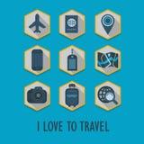 Hexagon εικονίδια ταξιδιού που τίθενται με τη μακριά σκιά διανυσματική απεικόνιση