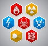Hexagon εικονίδιο κινδύνου Στοκ εικόνες με δικαίωμα ελεύθερης χρήσης