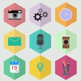 Hexagon επίπεδος διανυσματικός εικονογράφος σχεδίου εικονιδίων Στοκ Εικόνες