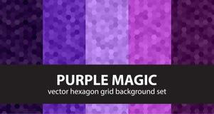Hexagon καθορισμένος πορφυρός μαγικός σχεδίων Στοκ Εικόνες