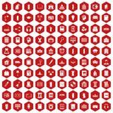 hexagon κόκκινο 100 εικονιδίων βιβλιοθηκών Στοκ Εικόνες