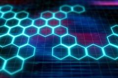 Hexagon μοριακό sci σχεδίων FI διανυσματική απεικόνιση