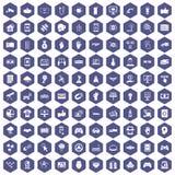 hexagon πορφύρα 100 εικονιδίων υψηλής τεχνολογίας Στοκ εικόνες με δικαίωμα ελεύθερης χρήσης