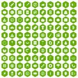 100 hexagon πράσινος εικονιδίων γεύματος Στοκ εικόνες με δικαίωμα ελεύθερης χρήσης