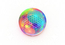 Hexagon πλέγμα στην πολυ χρωματισμένη σφαίρα διανυσματική απεικόνιση