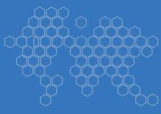 Hexagon σχέδιο τοίχων υποβάθρου ηπείρων Στοκ Εικόνες
