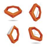 Hexagon τρισδιάστατο λογότυπο, για τις επιχειρήσεις ή την επιχείρηση Στοκ Εικόνες