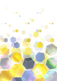 Hexagon. Background of hexagon shapes, could make a perfect background for honey ads or just be considered as a macro of glitters Royalty Free Stock Images