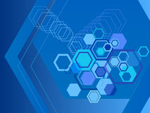 Hexagon abstract backgrounds. Illustration of beautiful hexagon abstract backgrounds in blue Royalty Free Stock Images