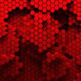 Hexagon Abstract Chaotic Red Bricks Wall Background Stock Photo