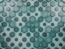 Hexagon abstract glass background. 3D. Rendering Stock Images