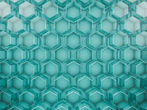 Hexagon abstract glass background. 3D. Rendering Stock Photos