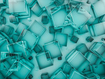 Hexagon abstract glass background. 3D. Rendering Stock Photo
