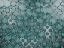 Hexagon abstract glass background. 3D. Rendering Royalty Free Stock Photo