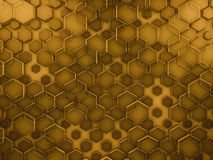 Hexagon abstract glass gold background. 3D. Rendering vector illustration