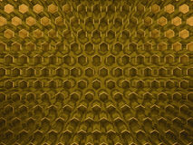 Hexagon abstract glass gold background. 3D. Rendering royalty free illustration
