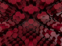 Hexagon abstract red background. 3D Stock Photos