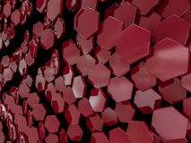 Hexagon abstract red background. 3D Stock Images
