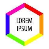 Hexagon achtergrond voor tekst Heldere kleurenvorm Abstract embleem Vector Royalty-vrije Stock Foto's