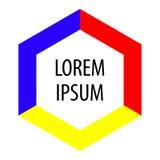 Hexagon achtergrond voor tekst Heldere kleurenvorm Abstract embleem Vector Stock Foto's