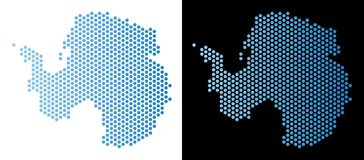 Antarctica Map Hex-Tile Abstraction. Hexagon Antarctica map. Vector territory plan in light blue color with horizontal gradient on white and black backgrounds royalty free illustration