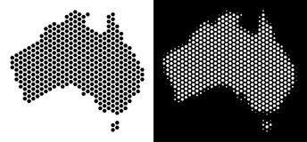 Australia Map Honeycomb Scheme. Hexagon Australia map. Vector territorial plan in black and white versions. Abstract Australia map concept is constructed from Royalty Free Stock Photography