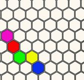 Hexagon background. Background of hexagons with five colored hexagons Stock Photo