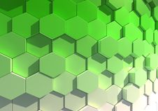 Hexagon background. Abstract textured  background composed of a close packed array of hexagons viewed in green light Royalty Free Stock Photography