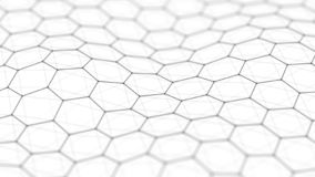 Hexagon background. Abstract background. Connecting dots and lines on dark background. 3D rendering. 4k royalty free illustration