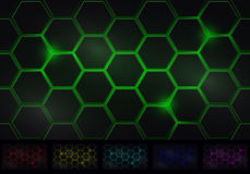 Hexagon Background Six Isolated Variants of Colors Stock Photo