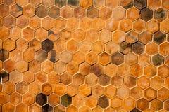 Hexagon bakstenen muurachtergrond Stock Fotografie