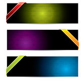 Hexagon banners with color ribbons Stock Photo