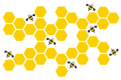 Hexagon bee hive design art and space background vector Royalty Free Stock Images