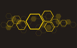 Hexagon bee hive design art and space background Stock Images
