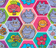 Hexagon big abstract alice cat seamless pattern Royalty Free Stock Photos