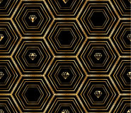 Hexagon big black golden diamond seamless pattern. This illustration is design luxury diamond and blank space with sewing hexagon in black and golden color vector illustration