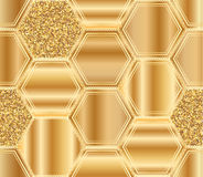Hexagon big golden glitter seamless pattern. This illustration is design golden theme hexagon with golden glitter decoration in seamless pattern Royalty Free Stock Photos